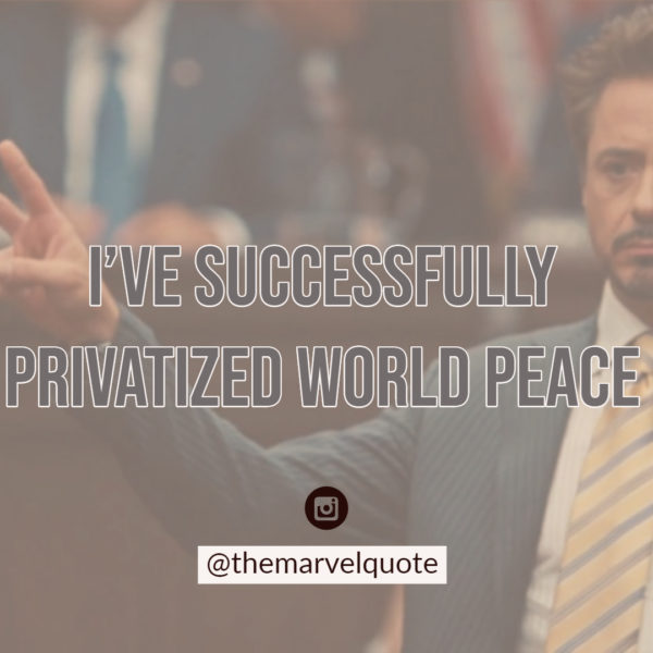 I've successfully privatized world peace