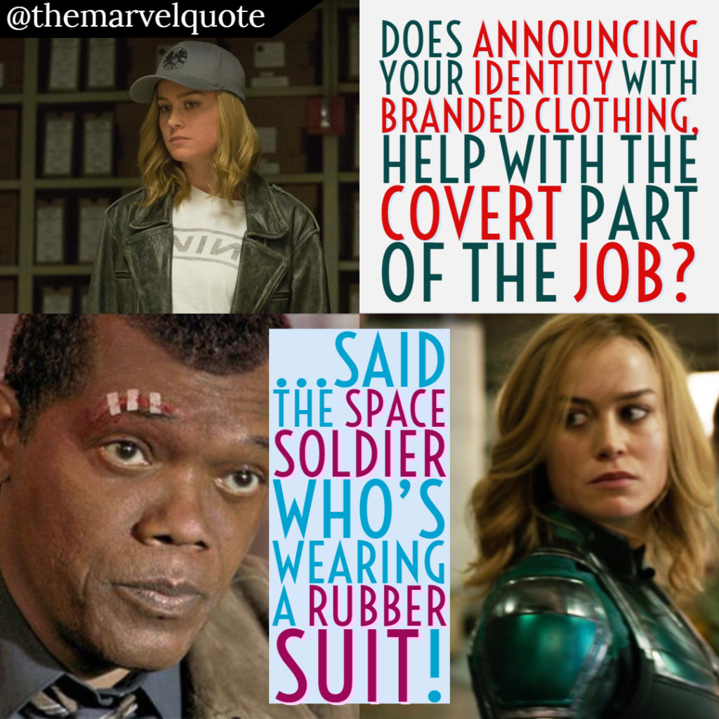 Soldier in rubber suit Nick Fury Captain Marvel